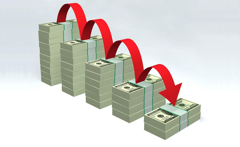 Stacks of bills